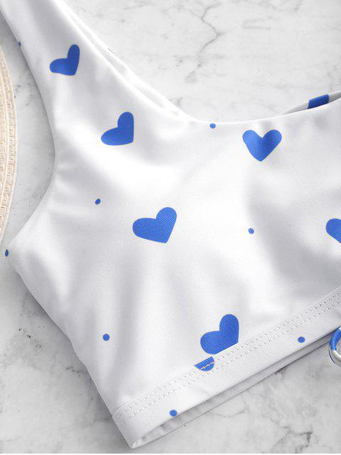 ZAFUL Maillot de Bain Bikini Cœur Imprimé à Lacets - Multi-A L Mobile