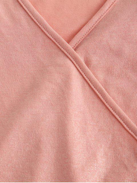 ZAFUL T-shirt Court à Manches Longues à Paillettes - Rose Cochon L Mobile