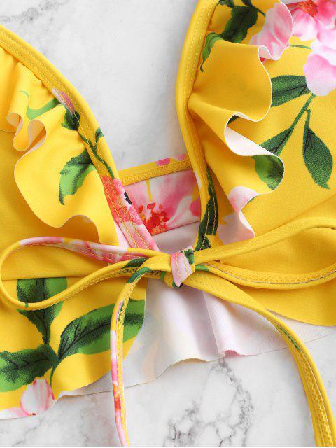 ZAFUL - Maillot de bain bikini à volants et fleurs - Multi-A L Mobile