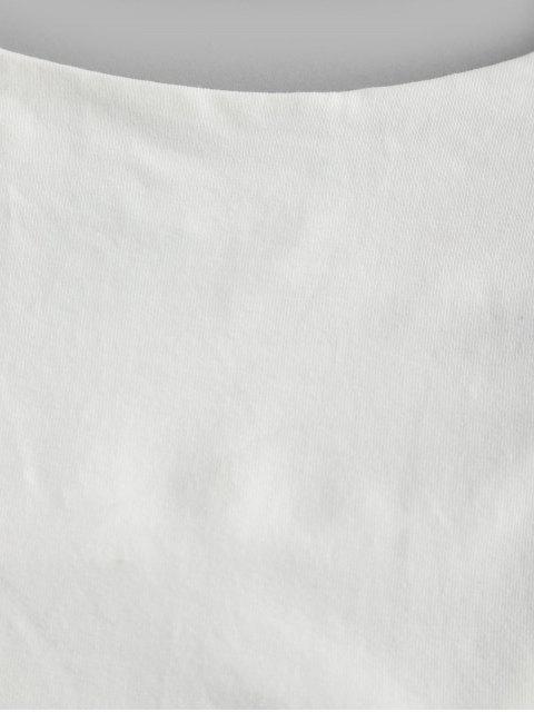 Haut à Bretelle Court en Couleur Unie à Lacets - Blanc M Mobile