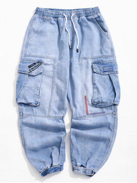 Jeans Jogger à appliqués avec poche à rabat sur le côté - Bleu Toile de Jean 36 Mobile