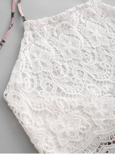 shop Lace Panel Floral Wide Leg Two Pieces Suit - MULTI S Mobile