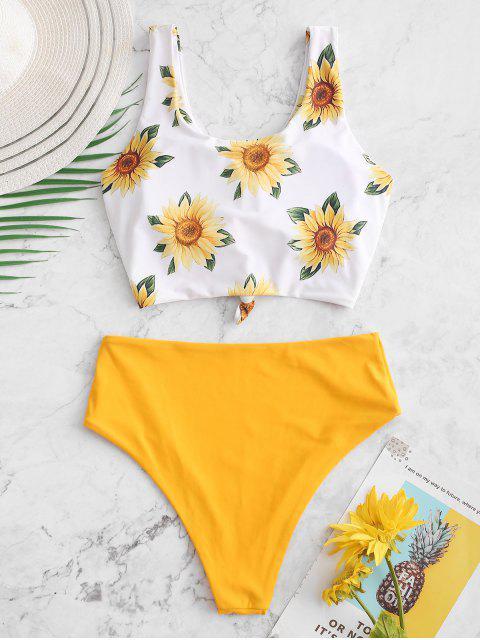 ZAFUL Sunflower Knot Reversible Tankini traje de baño - Amarillo Brillante M Mobile