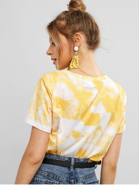 fashion Sun Floral Graphic Tie Dye Tee - WHITE L Mobile