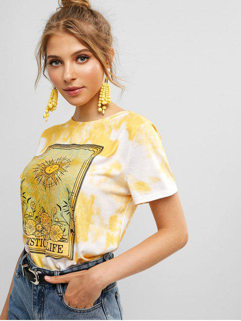 chic Sun Floral Graphic Tie Dye Tee - WHITE S Mobile