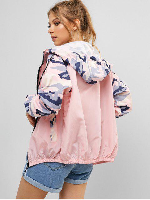 women's Zip Up Camo Color Block Jacket - PIG PINK M Mobile
