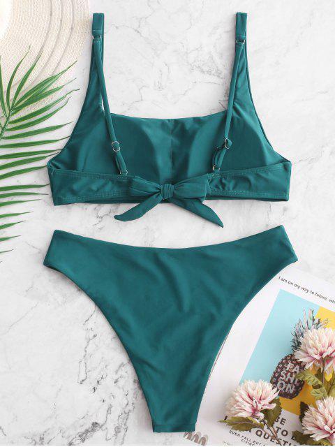 ZAFUL Maillot de Bain Bikini Simple Noué au Dos à Col Carré - Paon Bleu L Mobile