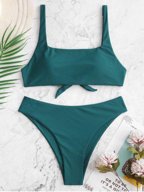 ZAFUL Maillot de Bain Bikini Simple Noué au Dos à Col Carré - Paon Bleu S Mobile