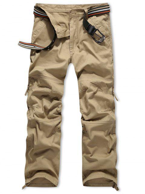 outfit Side Zipper Pocket Solid Color Long Straight Pants - SAFFRON 34 Mobile