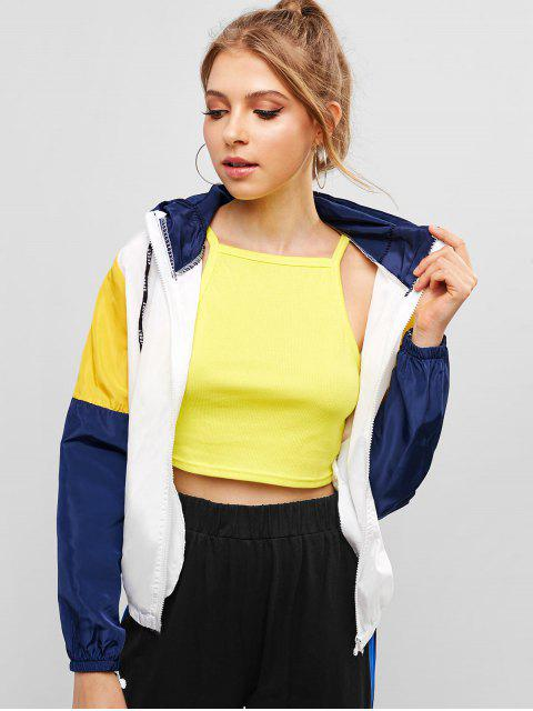 fashion Zip Up Color Block Hooded Jacket - MULTI-A M Mobile