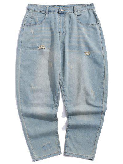 b08c4919bc9 Distressed Scratch Patchwork Ripped Back Pocket Denim Pants - Denim Blue 32  ...