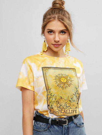 Sun Floral Graphic Tie Dye Tee - White S