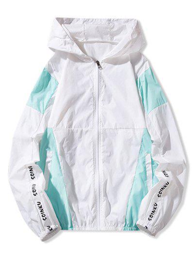Letter Print Color Block Panel Sunproof Hooded Jacket - Blue M
