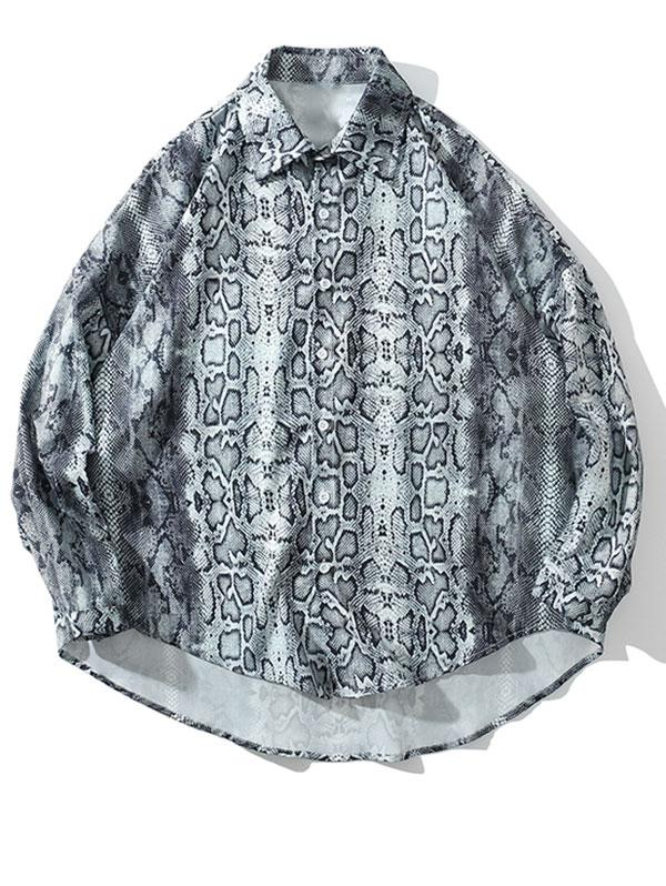 High Low Snake Print Drop Shoulder Button Shirt фото