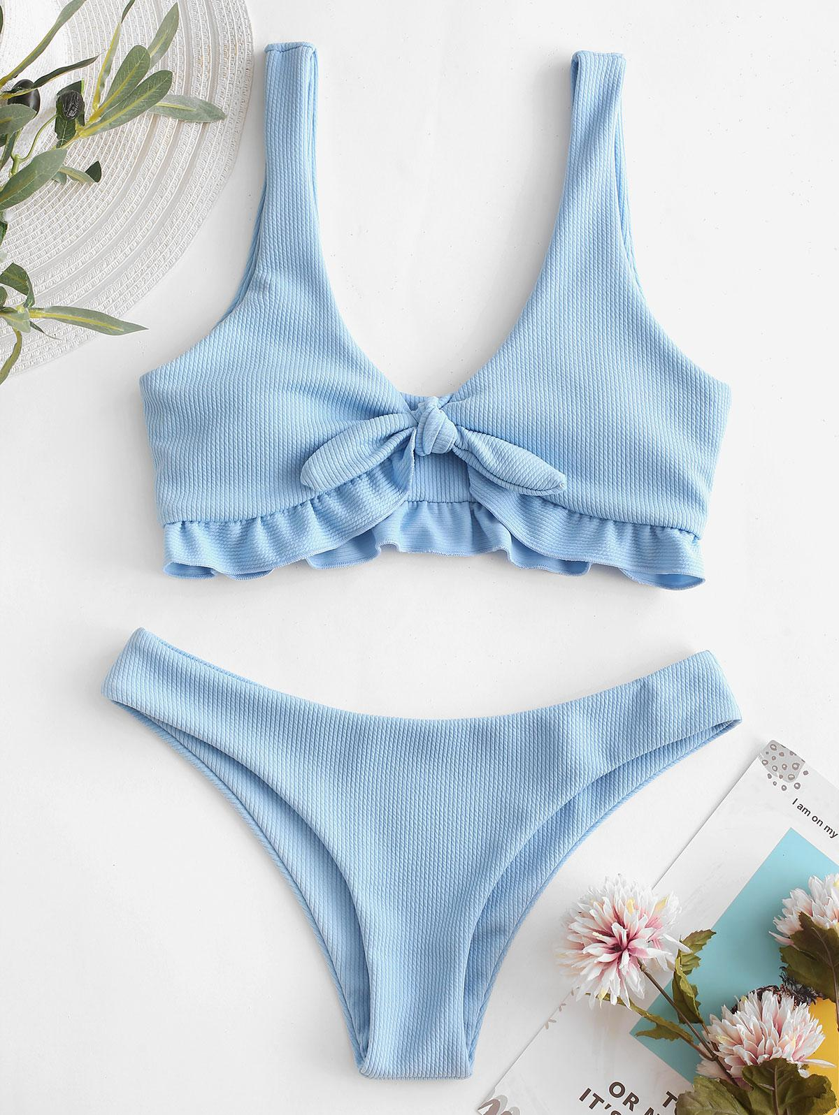 ZAFUL Ribbed Ruffle Tied Bikini Swimsuit, Jeans blue