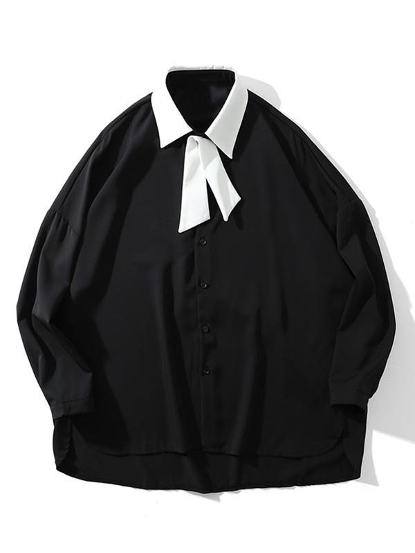 Colore Blocco del Turn-down Collar Alta Bassa Caduta di Spalla Camicia