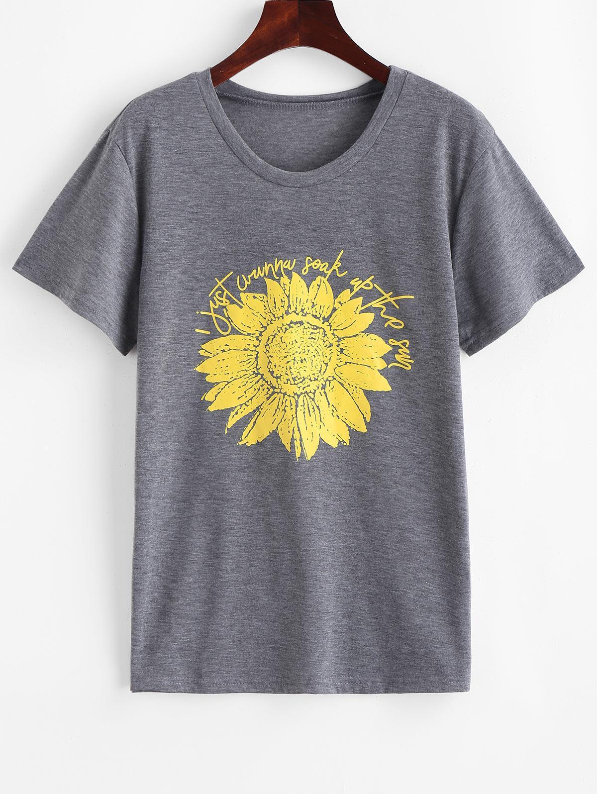 Flower Letter Graphic Short Sleeves Tee, Gray