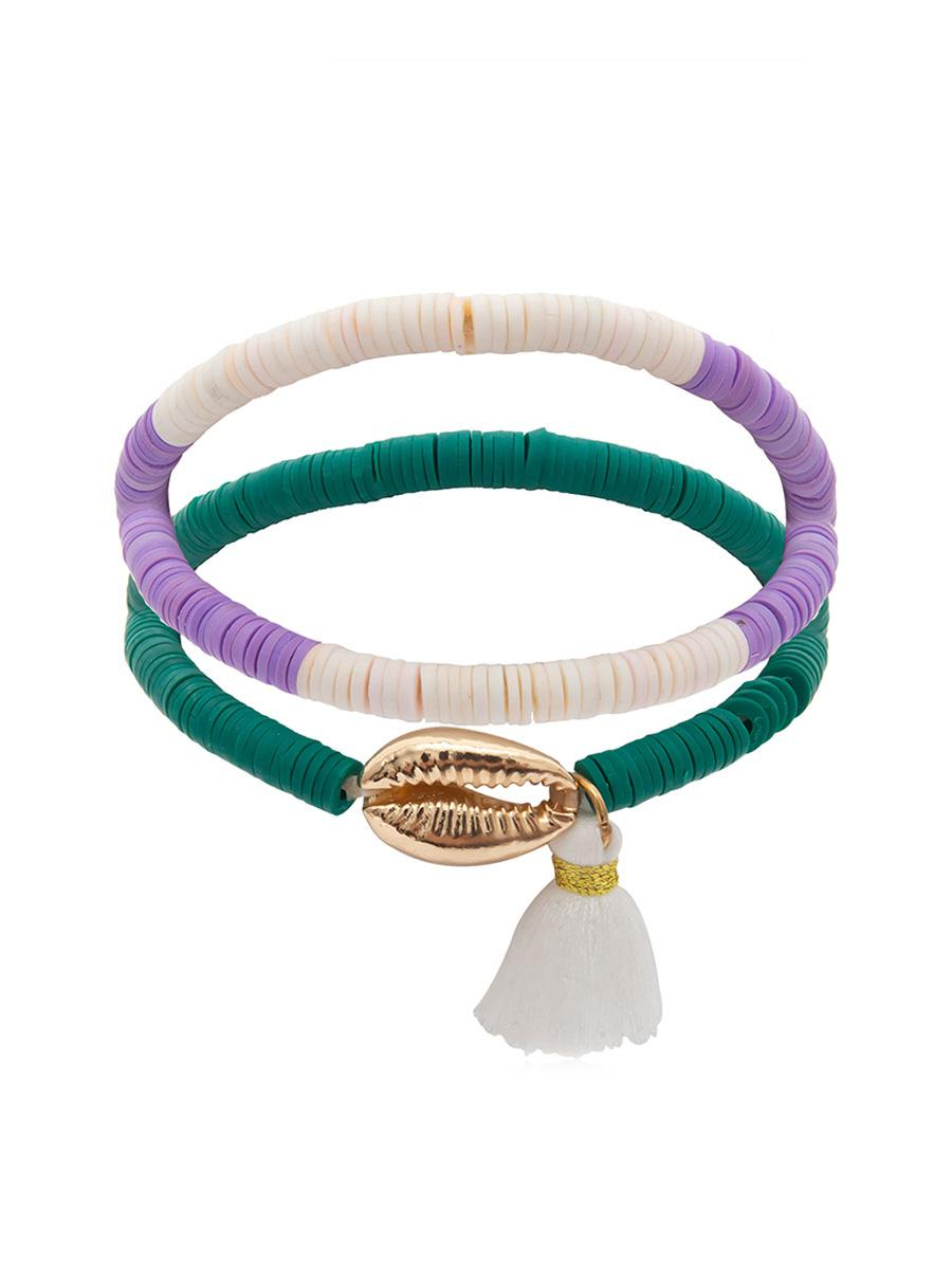 2 Piece Shell Fringe Bracelet Set