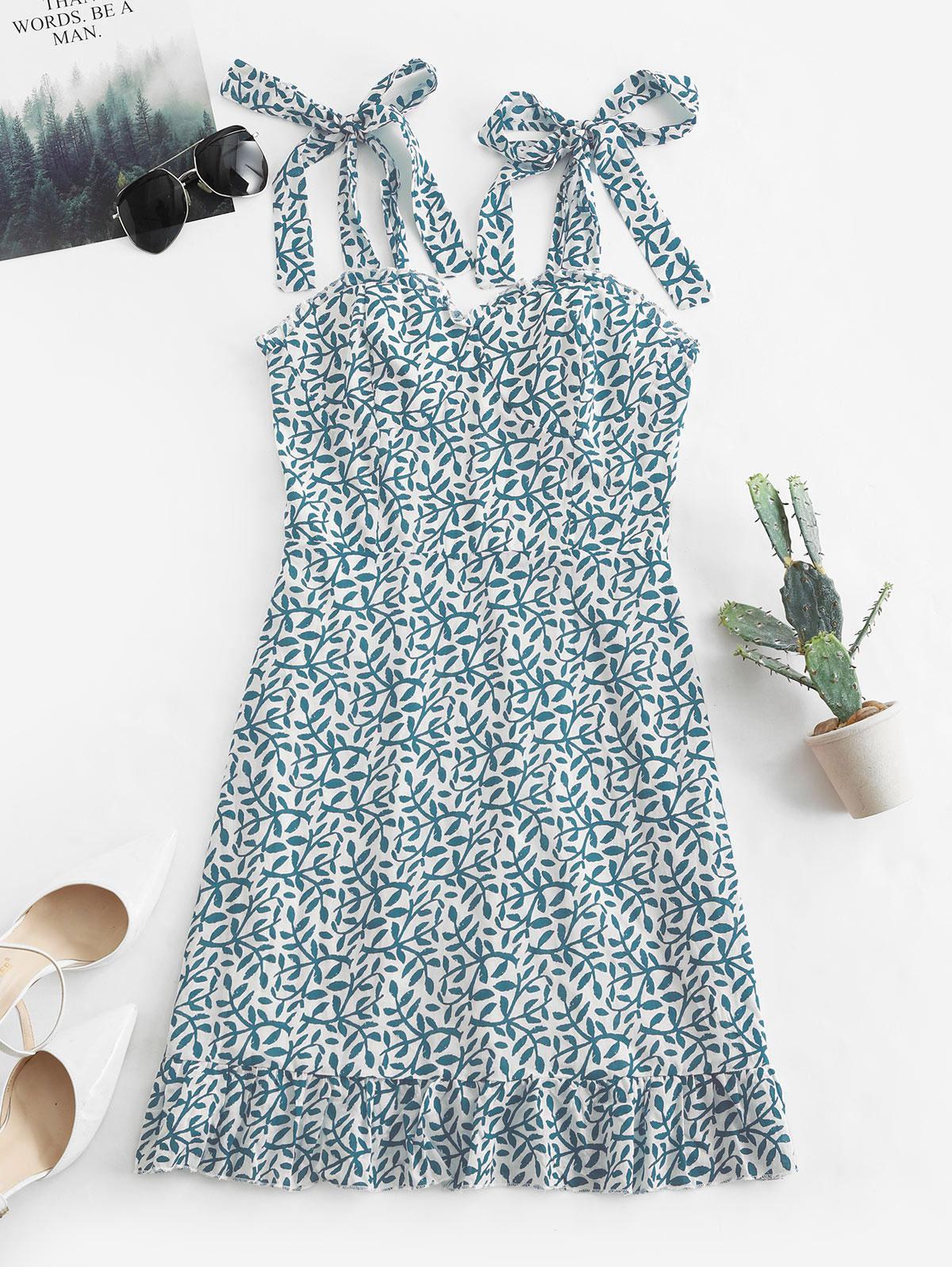 Tied Straps Leaves Print Smocked Mini Dress, Blue