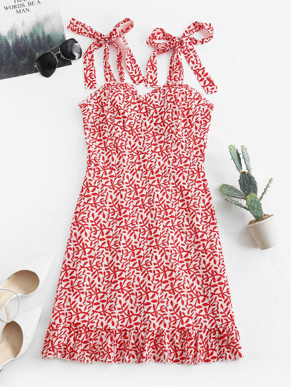 Tied Straps Leaves Print Smocked Mini Dress, Red