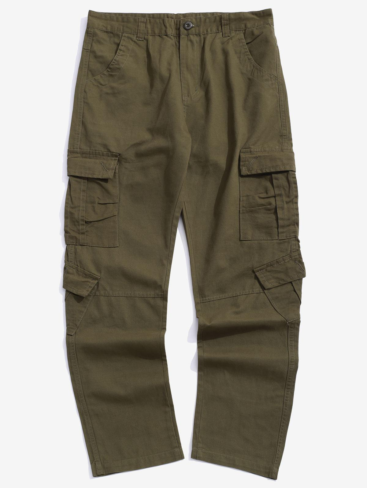 Multi Flap Pockets Spliced Solid Color Long Straight Pants фото