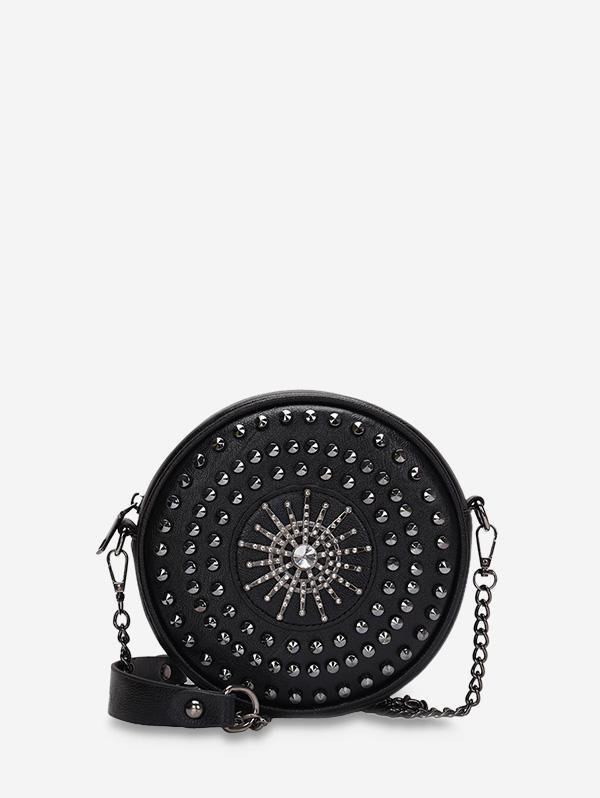 Round Crossbody Zipper Chain Bag, Black
