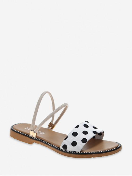 buy Flat Polka Dot Print Convertible Strap Sandals - WHITE EU 39