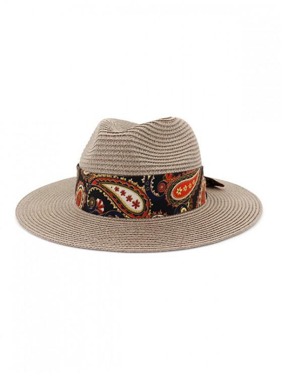 online Paisley Print Outdoor Jazz Straw Hat - DARK GRAY