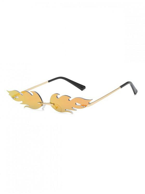 women Fire Shape Rimless Metal Sunglasses - BROWN SUGAR