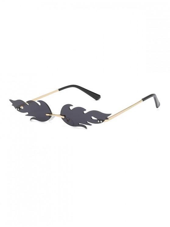 women's Fire Shape Rimless Metal Sunglasses - BLACK
