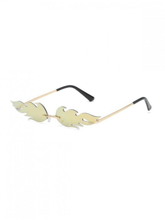 lady Fire Shape Rimless Metal Sunglasses - ORANGE PINK
