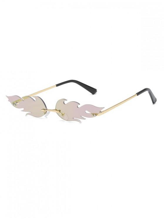 shop Fire Shape Rimless Metal Sunglasses - PURPLE