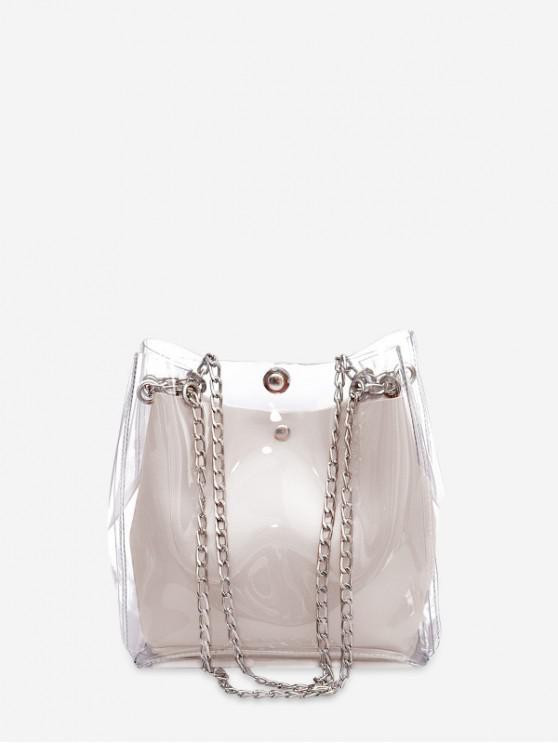 womens Transparent Chain Casual Bucket Bag - MILK WHITE