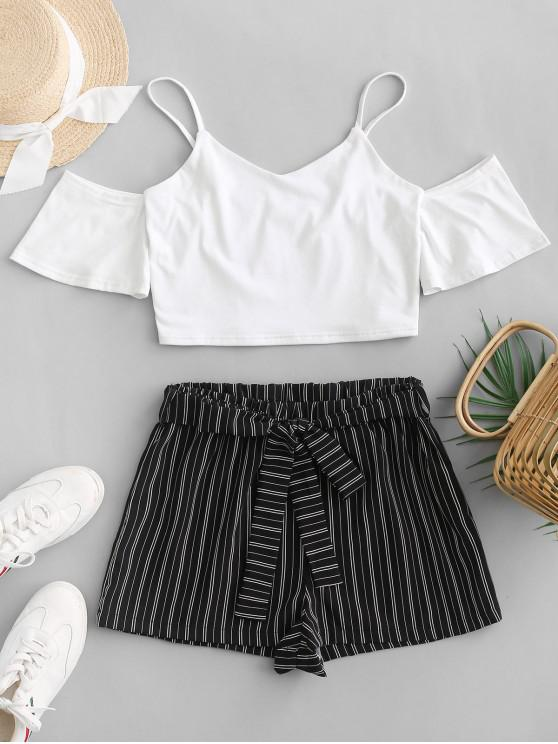 buy ZAFUL Crop Cami Top and Striped Belted Shorts Set - WHITE L