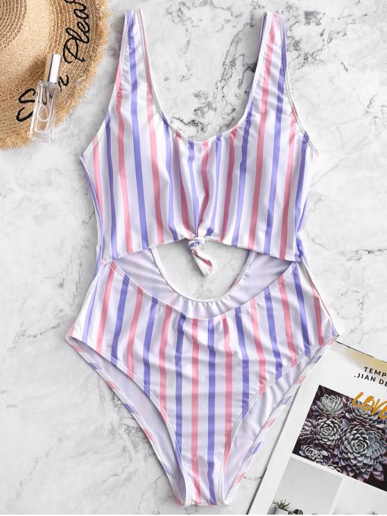 lady ZAFUL Striped Knotted Open Back Monokini Swimsuit - MULTI-A M