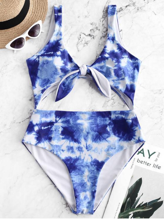 shop ZAFUL Tie Dye Knotted Monokini Swimsuit - BLUEBERRY BLUE L