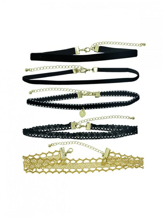 outfits 5 Piece Lace Choker Necklace Set - BLACK