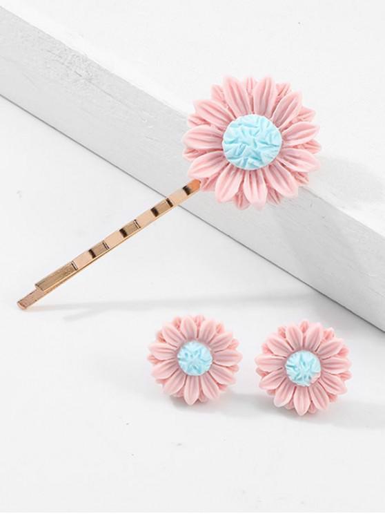 Set di orecchini a forma di girasole con girasoli margherita - Rosa Chiaro