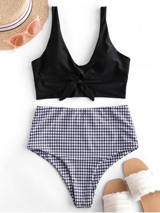 latest ZAFUL Gingham Knot Mix and Match Tankini Swimsuit - BLACK S