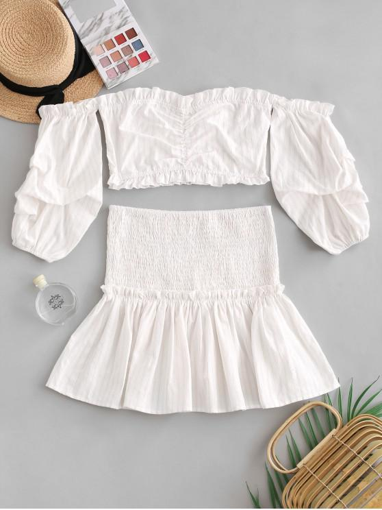 latest ZAFUL Off Shoulder Striped Smocked Frilled Two Piece Set - WARM WHITE S
