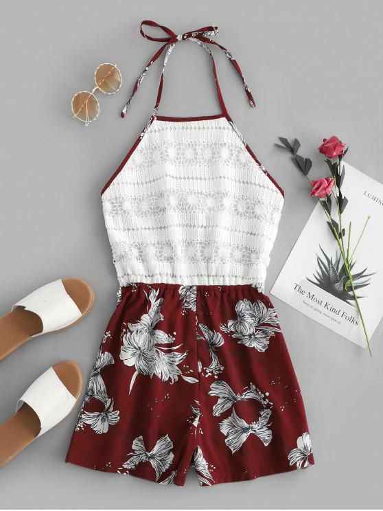 hot ZAFUL Crochet Lace Tied Back Floral Halter Romper - RED WINE S