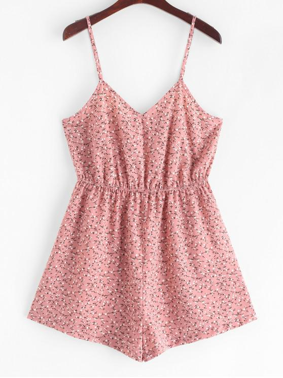 outfit ZAFUL Ditsy Print Wide Leg Cami Summer Romper - PINK L