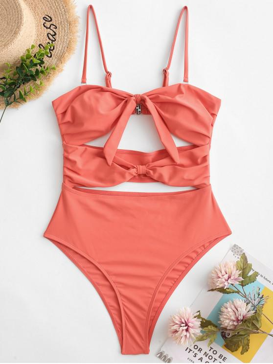 ZAFUL Dupla Knot Cutout Bandeau Swimsuit De Uma Peça - Cor de Vermelho de Feijão  M