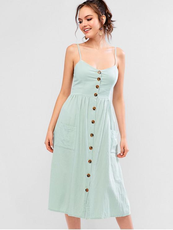 lady Smocked Back Buttoned Pockets Cami Dress - PALE BLUE LILY M