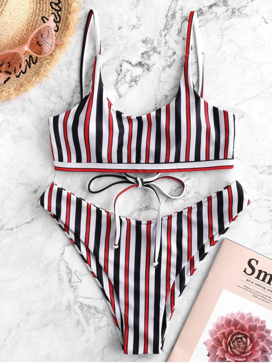 shop ZAFUL Multi Striped Lace-up Bralette Bikini Swimsuit - MULTI-A L