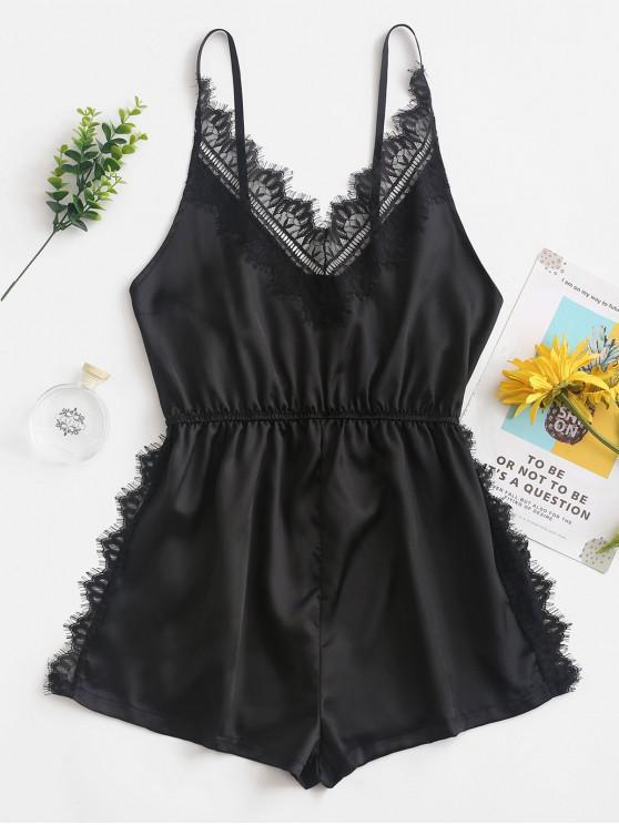 sale Slip Lace Insert Slit Pajama Romper - BLACK L