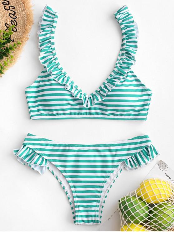 chic ZAFUL Ruffle Striped Bikini Swimsuit - LIGHT SEA GREEN L