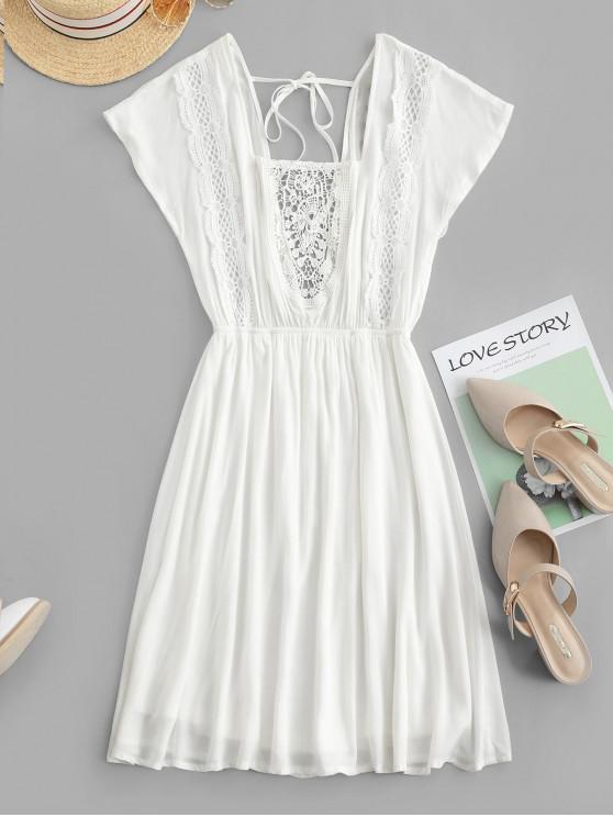 fashion ZAFUL Square Neck Crochet Panel Backless Mini Dress - MILK WHITE L