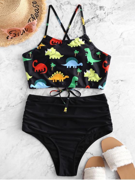 new ZAFUL Dinosaur Lace Up Tummy Control Tankini Swimsuit - BLACK S