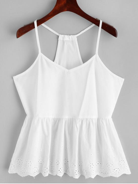 affordable Scalloped Eyelet Racerback Cami Top - WHITE XL